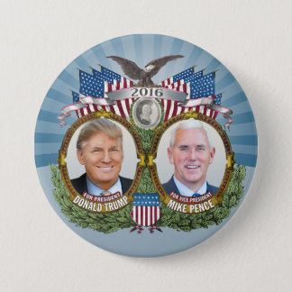 Donald Trump & Mike Pence Jugate Photo Blue Design 7.5 Cm Round Badge