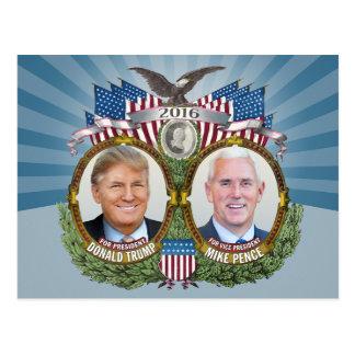 Donald Trump & Mike Pence Jugate Photo Blue Design Postcard