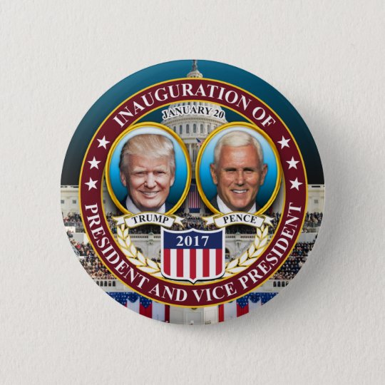 DONALD TRUMP MIKE PENCE PRESIDENTIAL INAUGURATION 6 CM ROUND BADGE