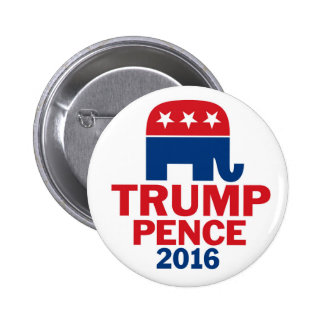 Donald Trump & Mike Pence Republican Elephant 6 Cm Round Badge