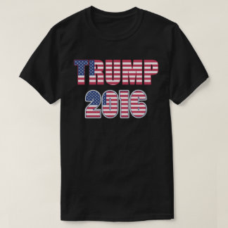 Donald Trump President 2016 American Flag Text T-Shirt