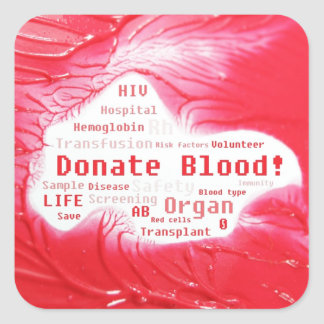 Donate blood concept design square sticker