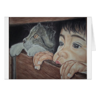 Done drawing by hand with pencil and chalk pastel greeting card
