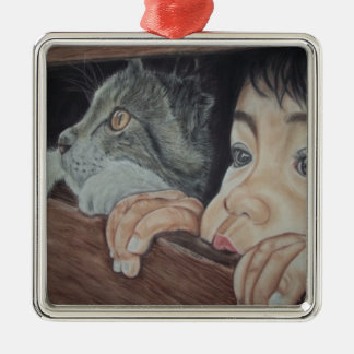 Done drawing by hand with pencil and chalk pastel Silver-Colored square decoration