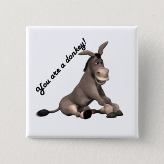 Donkey 15 Cm Square Badge