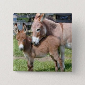 Donkey and Baby 15 Cm Square Badge