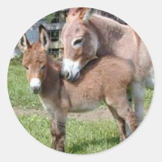 Donkey and Baby Classic Round Sticker