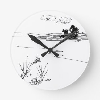 donkey and elephant and shadows round clock