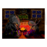 donkey and elephant by fire greeting cards