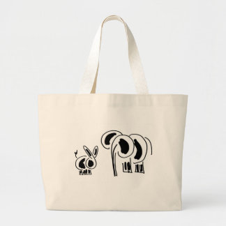 donkey and elephant friends large tote bag