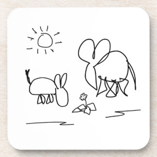 donkey and elephant look at a flower coaster