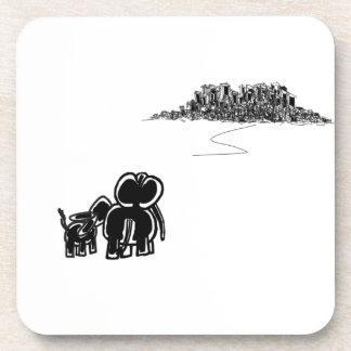 donkey and elephant look at city coaster