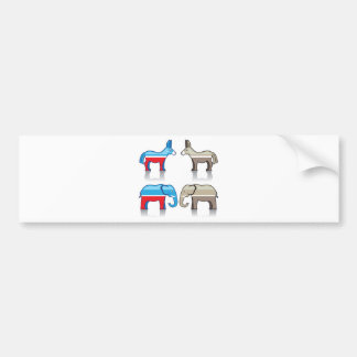 Donkey and Elephant Political Parties Bumper Sticker
