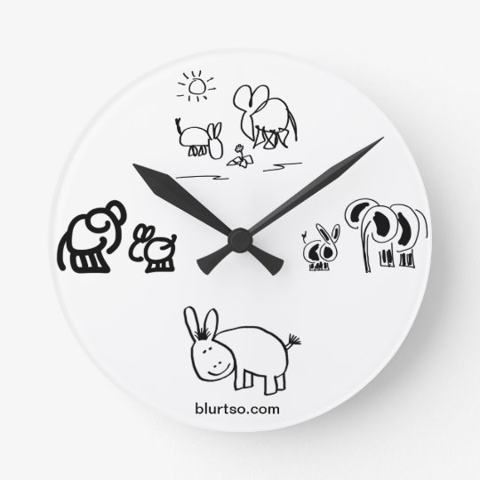 donkey and elephant tell time round clock