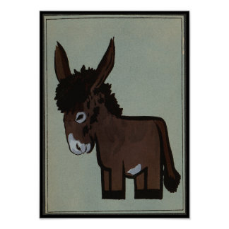 Donkey - Antiquarian, Colorful Book Illustration Poster