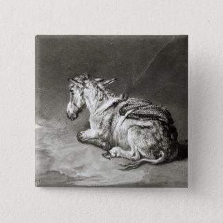 Donkey at Rest 15 Cm Square Badge