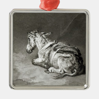 Donkey at Rest Silver-Colored Square Decoration