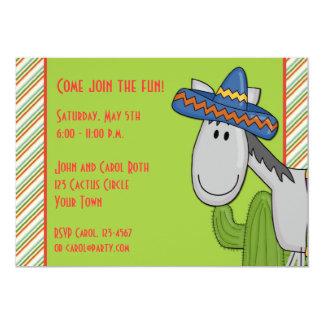 "Donkey Cactus Fiesta Invitation 5"" X 7"" Invitation Card"