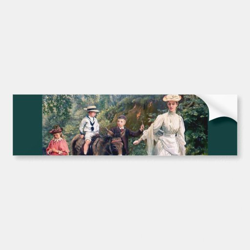 Donkey Children Mother Antique painting Bumper Stickers