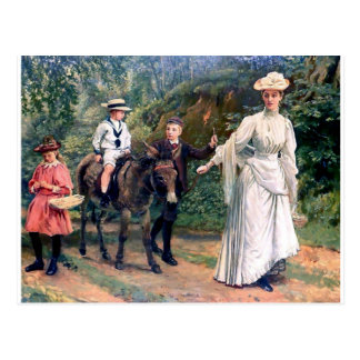Donkey Children Mother Antique painting Postcard