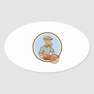 Donkey Concrete Saw Consaw Circle Cartoon Oval Stickers