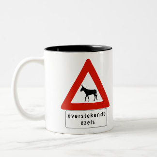 Donkey Crossing (2), Sign, Netherlands Antilles Two-Tone Coffee Mug