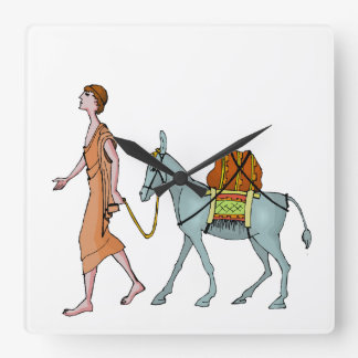 Donkey delivery square wall clock