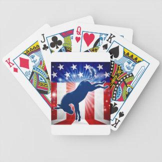 Donkey Democrat Political Mascot Kicking Bicycle Playing Cards