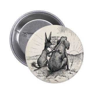 Donkey Elephant Election Pin/ 6 Cm Round Badge