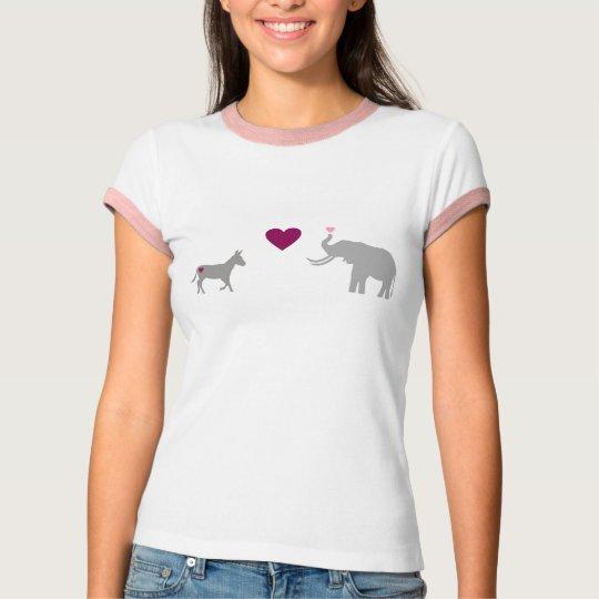 Donkey Elephant Love Pink/White Womens T-shirt