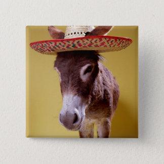 Donkey (Equus hemonius) wearing straw hat 15 Cm Square Badge