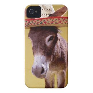 Donkey (Equus hemonius) wearing straw hat iPhone 4 Case-Mate Case