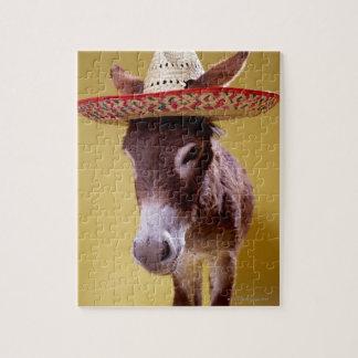 Donkey (Equus hemonius) wearing straw hat Jigsaw Puzzle