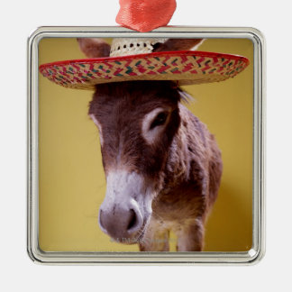 Donkey (Equus hemonius) wearing straw hat Silver-Colored Square Decoration