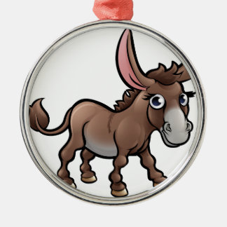 Donkey Farm Animals Cartoon Character Silver-Colored Round Decoration