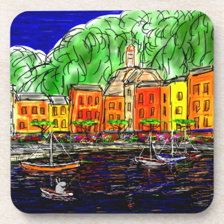 donkey fishing in Portofino, Italy Drink Coasters