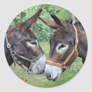 Donkey friends round sticker