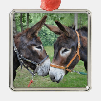Donkey friends Silver-Colored square decoration