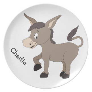 Donkey illustration custom name melamine plate