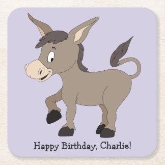 Donkey illustration custom text paper coasters