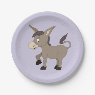 Donkey illustration kids' paper plates