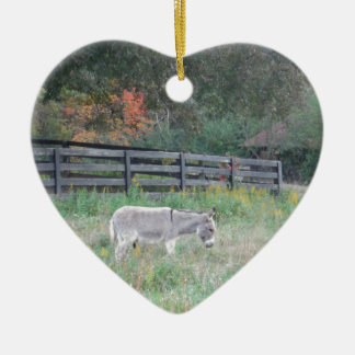 Donkey in a Fall Autumn Field. Ceramic Heart Decoration