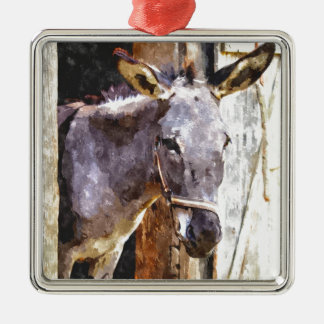 Donkey in watercolor christmas ornament