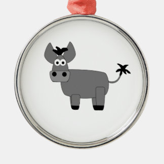 Donkey.jpg Silver-Colored Round Decoration