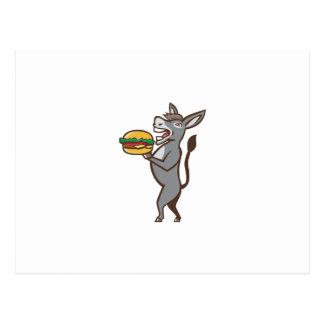 Donkey Mascot Serving Hamburger Isolated Retro Postcard