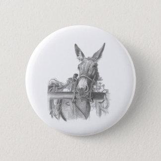 donkey mules 6 cm round badge