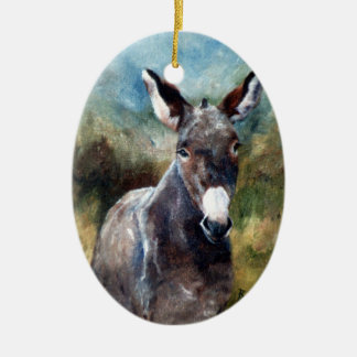 Donkey Portrait Ceramic Oval Decoration