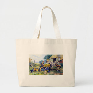 Donkey Rooster Chicken Hey farm Large Tote Bag