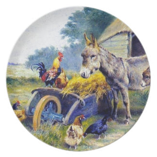 Donkey Rooster Chicken Hey farm Plate