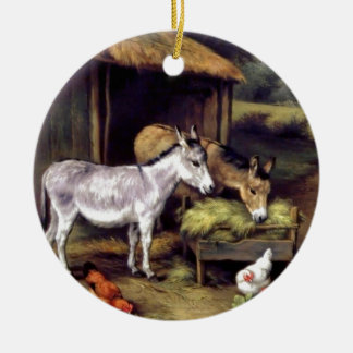 Donkey rooster farm christmas ornaments